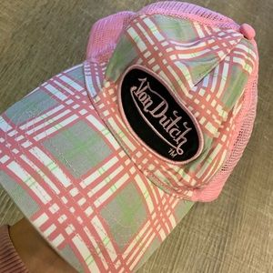 Von Dutch Pink Plaid Trucker Hat